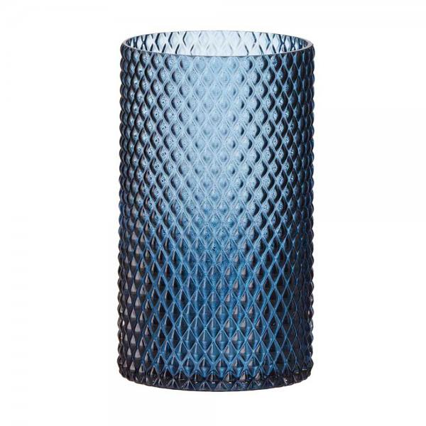 glaslicht/ vase, diamond blau 20 cm