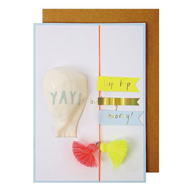 meri meri klappkarte luftballon und neon tasselgirlande wunderschoen-gemacht