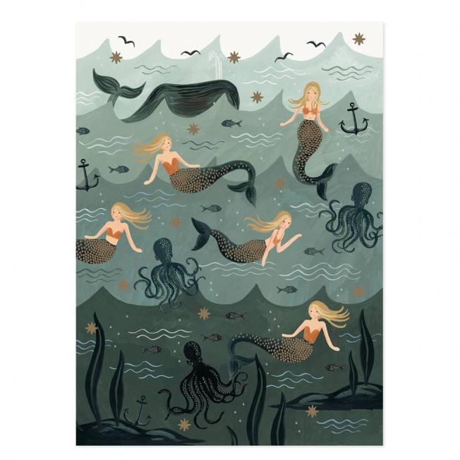 rifle paper co geschenkpapiere mermaid meerjungfrauen nixen oktopus fische wunderschoen-gemacht