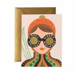 rifle paper co klappkarte ski girl wunderschoen-gemacht