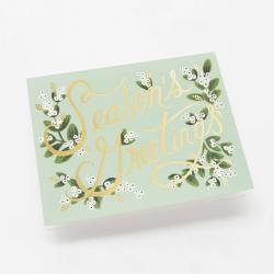 rifle paper co klappkarte mistletoes season`s greetings mistelzweig wunderschoen-gemacht