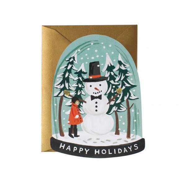 rifle paper co klappkarte snow globe schneekugel mit schneemann wunderschoen-gemacht
