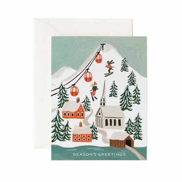 rifle paper co klappkarte winterlandschaft mit gondeln holiday snow scene wunderschoen-gemacht