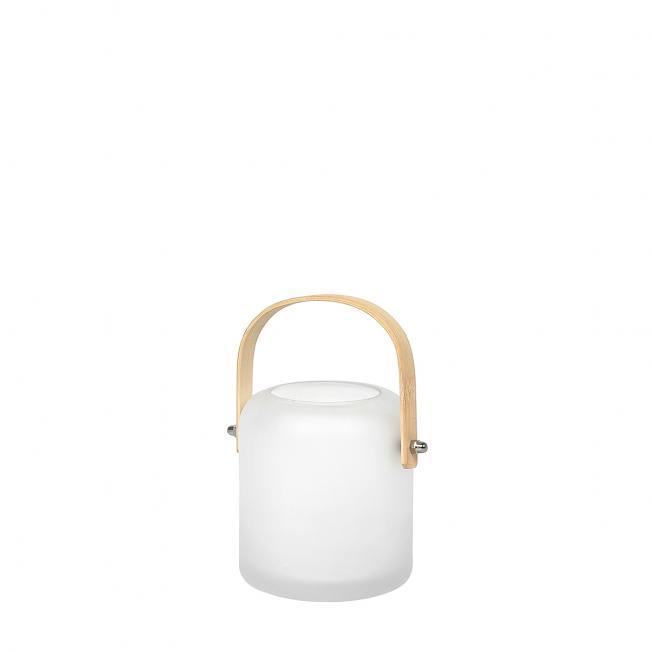 broste copenhagen satiniertes gefrostetes glaslicht perle mit holzgriff aus bambus wunderschoen-gemacht