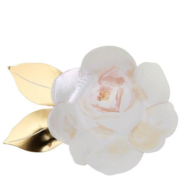 meri meri pappteller white rose plates weisse rosen wunderschoen-gemacht