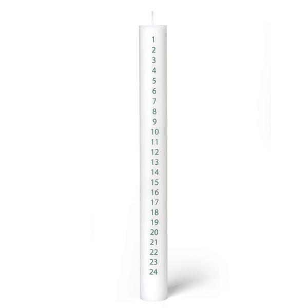 dottir design kalender kerzen 3cm mit zahlen 1 - 24 adventskerzen weiss gruen wunderschoen-gemacht