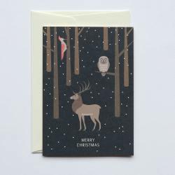 haferkorn & sauerbrey grusskarten deer owl hirsch eule specht merry christmas wunderschoen-gemacht