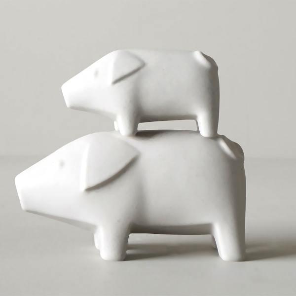 dbkd swedish pigs weisse keramik weihnachtsschweine schweinchen wunderschoen-gemacht