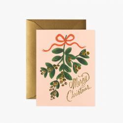 rifle paper co klappkarte mistletoechristmas mistelzweig glitzer mistelbeeren roter schleife wunderschoen-gemacht