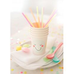 meri meri pappbecher cups emoji smileys neon pastell wunderschoen-gemacht
