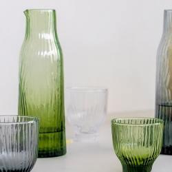kinta glaskaraffe glaskurg amnis gruen wellenmuster wunderschoen-gemacht
