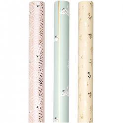 rico design geschenkpapier bunny rosa mint gold osterhasen bluemchen wunderschoen-gemacht