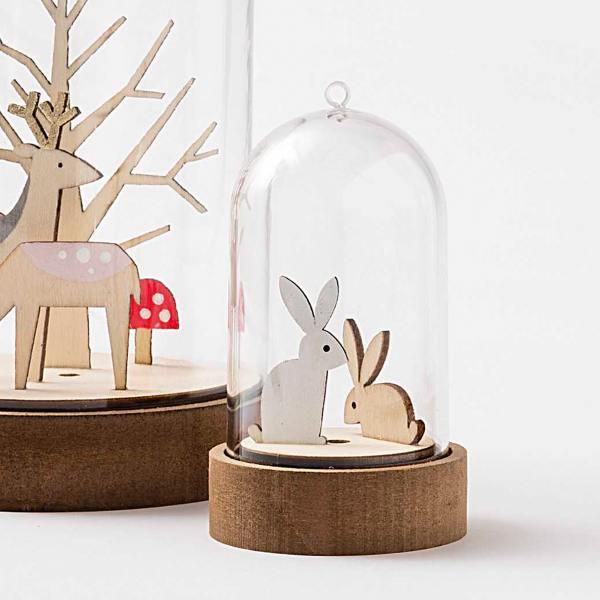 rico design haube glasglocke glasdome mit mdf holz sockel wunderschoen-gemacht