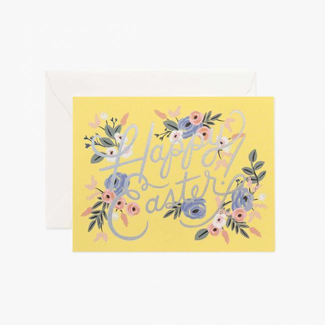 rifle paper co sunshine easter card gelbe osterkarte mit Blumen klappkarten wunderschoen-gemacht