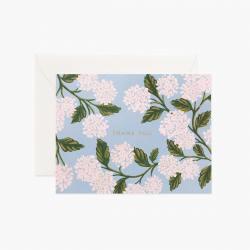 rifle paper co grusskarte thank you danke weisse hortensienblueten hydrangea hellblau wunderschoen-gemacht