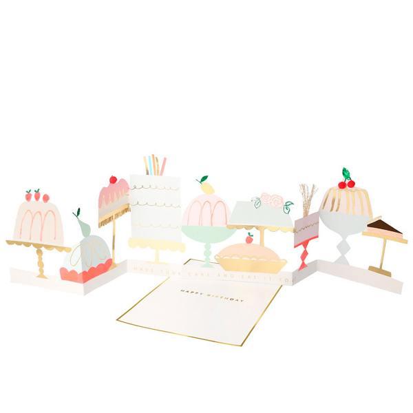 meri meri ausklappbare zieharmonika concertina grusskarten kuchen torten cake wunderschoen-gemacht