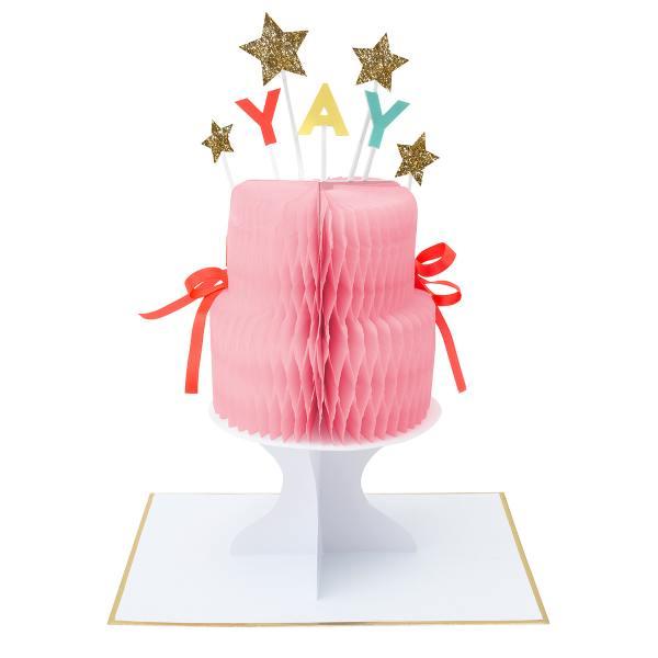 meri meri honeycomb karte torte yay sterne neon gold  wunderschoen-gemacht