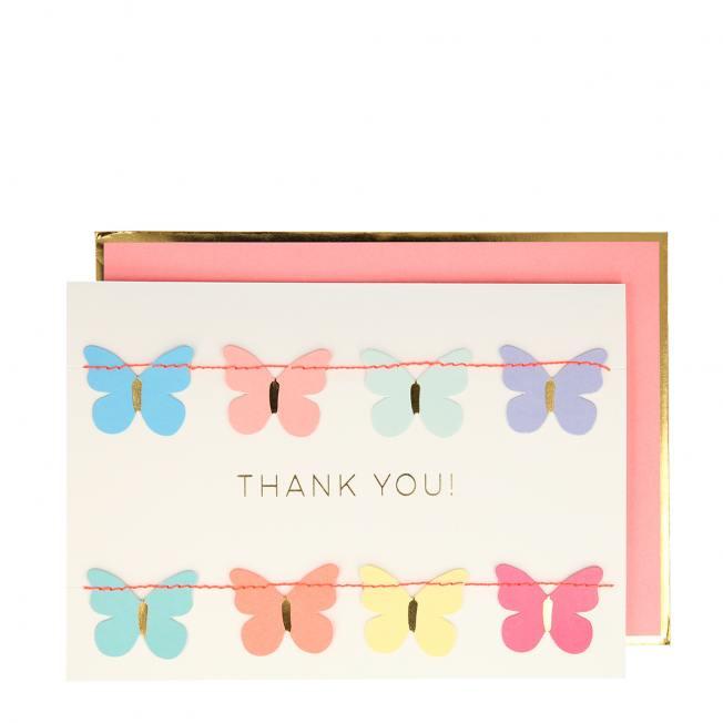 meri meri klappkarte  schmetterlinge girlande thank you neon wunderschoen-gemacht