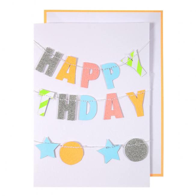 meri meri klappkarte  happy birthday girlande neon wunderschoen-gemacht
