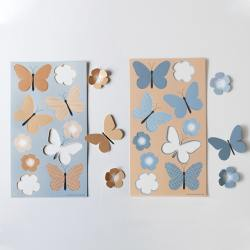 jurianne matter papier schmetterlinge blumen summer blue beige blau wunderschoen-gemacht