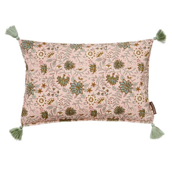 bungalow dk kissen komati rose muster blumen floral mint rosa wunderschoen-gemacht