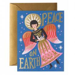 rifle paper co klappkarte weinrot mit goldenem kranz be merry and bright wunderschoen-gemacht