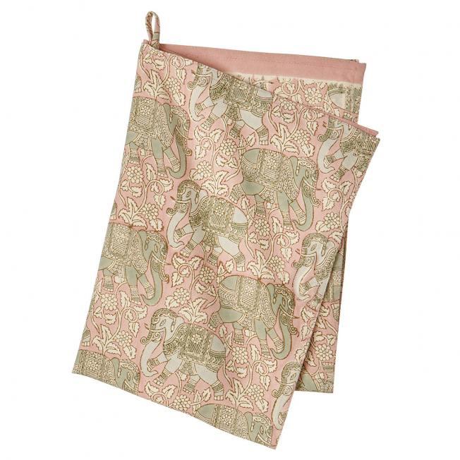 bungalow dk kuechentuch  haathi rose elefanten elephants blockprintmuster rosa gruen wunderschoen-gemacht