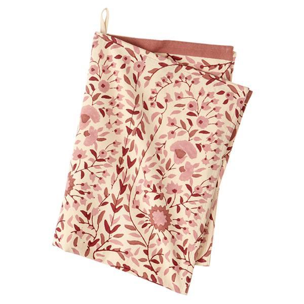 bungalow dk kuechentuch kollam rosy blumen blockprintmuster rosa  wunderschoen-gemacht