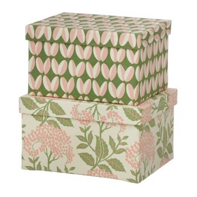 bungalow dk brick boxen gruen rosa blumenmuster arabica leaf green wunderschoen-gemacht