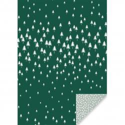 jurianne matter zweiseitiges geschenkpapier blaettchen blaetter leaves tannenbaeume puenktchen gruen weiss wunderschoen-gemacht