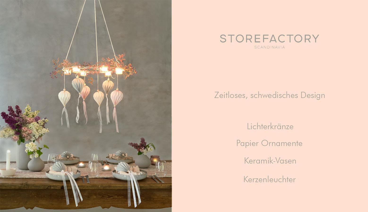 Storefactory schwedisches Design Vasen Lichterkranz Papier Deko Kerzenleuchter